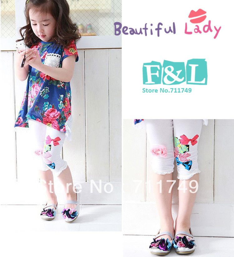 2013 Summer Fashion 5/5 Flower Butterfly Baby Girl Leggings Cute Children Tights Cheap Kids Leggings Toddlers Outfits(China (Mainland))