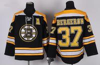 Mix Order Boston Bruins 37# Patrice Bergeron Black Ice Hockey Jersey Embroidery logos Size 48-56 Free Shipping