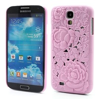 Fashional Hollow Out 3D Rose Hard Shell Case for Samsung Galaxy S4 IV i9500 i9505, Unique Design, Free shipping