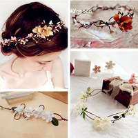 Free Shipping Hair Bridal Wedding Flower Garlands for Hair Garland Boho Style Multicolor Bride Accessory Artificial YP0501-049