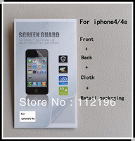 2000sets/lot full body Clear film guard High Definition Screen Protector for iPhone 4, 4S (Front+ Back+cloth+retail package)