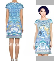 2013 Women Clothing Free Shipping Brand Elegant Vintage Print Raglan Sleeve Above-knee Blue-white Porcelain Silk Designer Dress