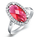 Wholesale 10Pcs/lot Fashion 18K white Gold plated lady's Wedding Red Crystal CZ Stone Rings for women men  SIZE 8 J119
