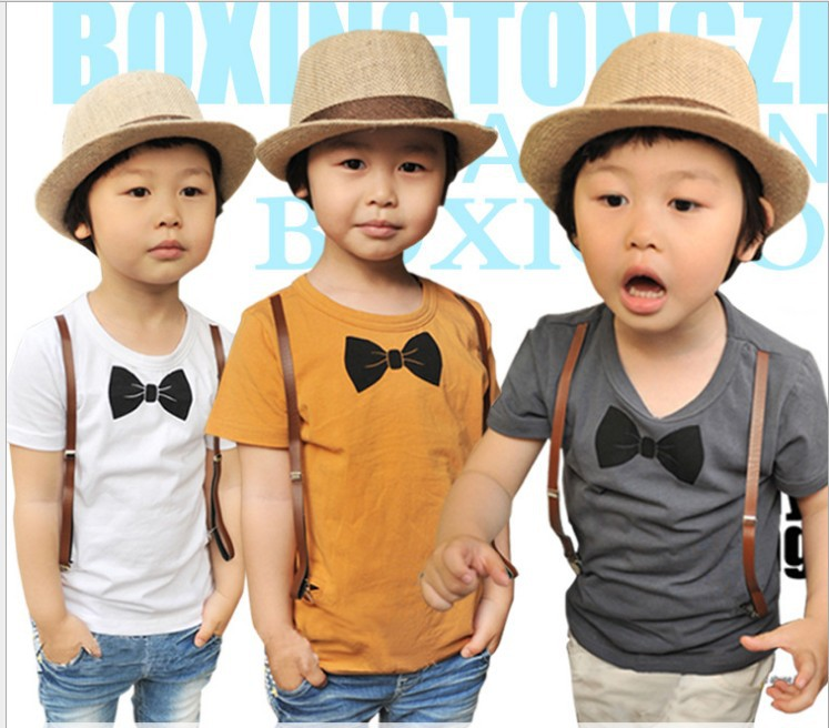 Summer children t shirt short sleeve straps Bow tie pure cotton kids Casual t shirts baby topwear 3colour 5size 5pcs/lot(China (Mainland))