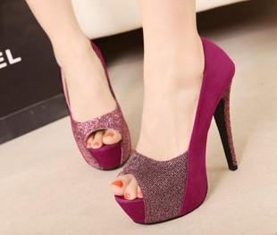 Female shoes patchwork red high-heeled wedding shoes bridal shoes platform thin heels open toe single shoes(China (Mainland))