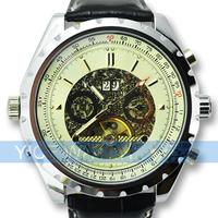 White Luxury Mens Tourbillon Automatic Mechnical Watch Leather Band Wrist Watch Free Shipping