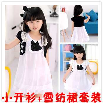 2013 children's summer wear children's clothing wholesale girls printed lace collar small heart-shaped cardigan + chiffon skirt