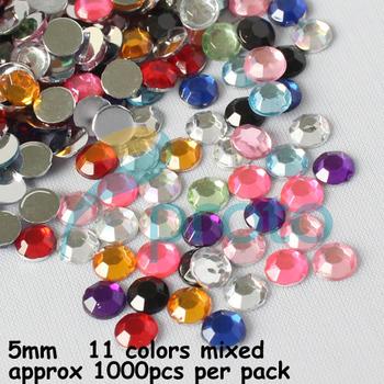 Freeshipping- 5mm 11 Mix Color Rhinestone 3D Nail Art Decoration Dropshipping [Retail] SKU:D0456