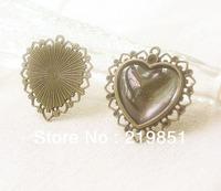 Inner 23MM Heart Blank Pendant Base Wholesale Custom DIY Jewelry Component Accessary Cabochon Base Pendant Settings YY4