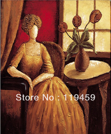 Handmade graceful lady Oil Painting canvas art I 39x39inch 100x100cm no frame NO stretcher(China (Mainland))