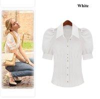 Free shipping wholesale fashion women Puff Sleeve shirts fashionable tops chiffon pink blouses M- 4XL plus size ladies shirt