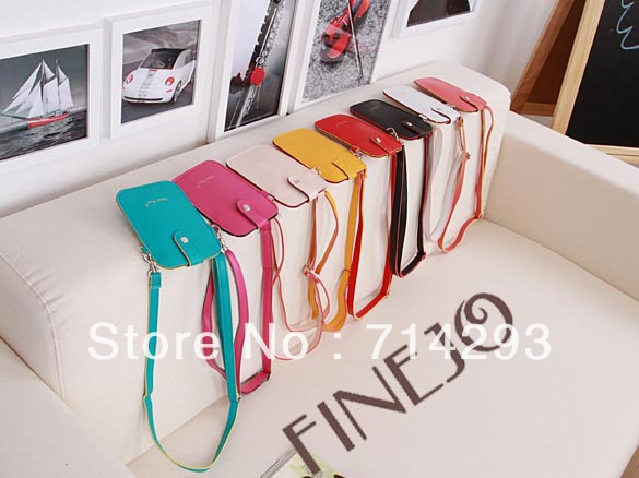 Women's Synthetic Leather Candy Color Purse Pouch Mobiephone Bag 8Colors 13382(China (Mainland))