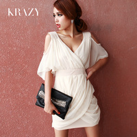 Krazy2013 ladies fashion solid color ruffle sexy strapless formal dress chiffon one-piece dress 251
