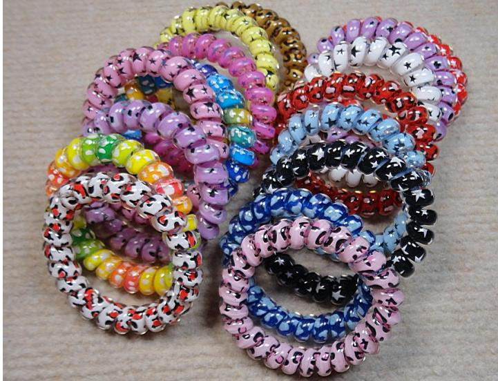 Free shipping!!! 5.5cm colorful lovely telephone line fashion hair band rubber band hair ring hair rope 100pcs/lot R-0218(China (Mainland))