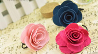 Free Shipping! Korean Fashion Sweet Rose Flower Elastic Hair Bands For Women Cute Flower Elastic Hair Ring Hair Accessories