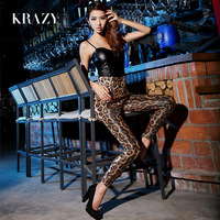Krazy fashion all-match personality luxury normic paillette patchwork leather low-cut pad spaghetti strap top 734