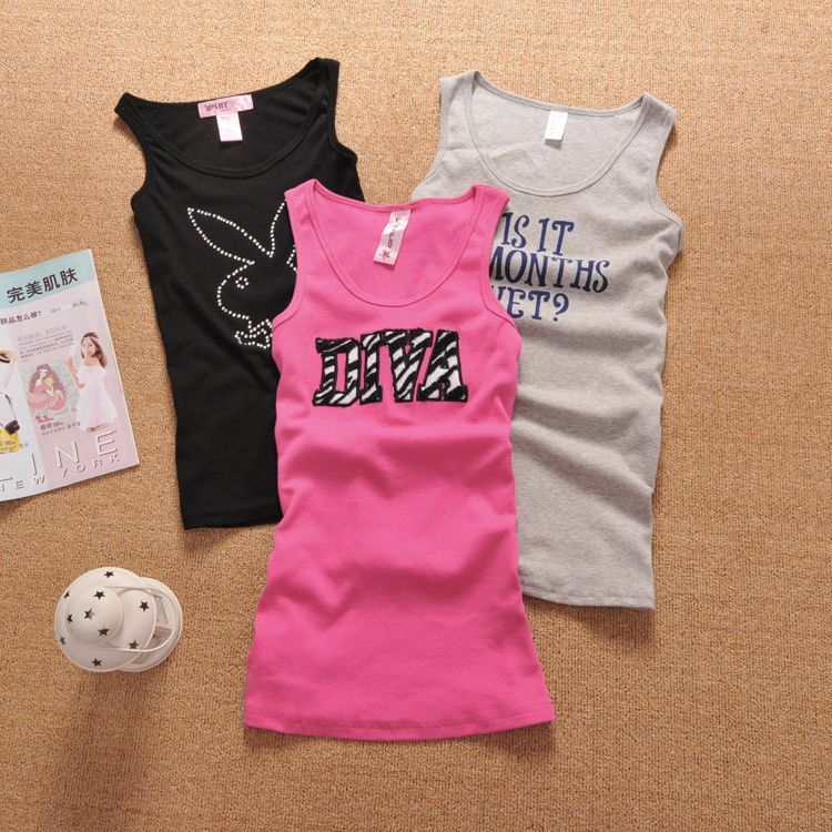 Spaghetti strap small vest female slim all-match basic print letter cotton 100%(China (Mainland))