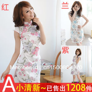 A excellent 2013 summer vintage design fashionable casual short cheongsam cotton cheongsam dress(China (Mainland))
