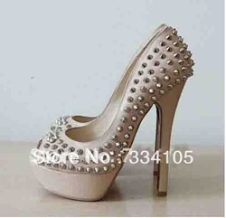 2013 Summer Daffodile 15cm Very Mix Peep toe Silver spikes Shiny Leather Shoes new fashion sexy high heel club sandals(China (Mainland))