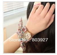 New design sell like hot cakes Women flower cloth wrist watch/fashionable watch/fabric watch % 100 high quality