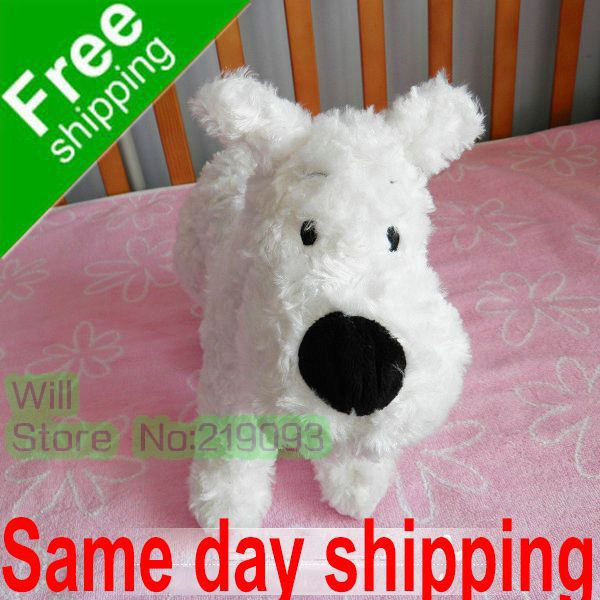 Big Size 30cm The Adventures of Tintin White Dog SNOWY,Retail Cheap price Dog SNOWY(China (Mainland))
