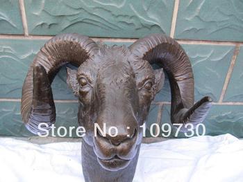 bir 00138 Weat Art pure bronze carved carvings sheep head Art Deco figurine statue
