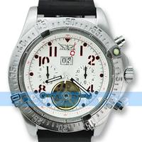 White Luxury Mens Tourbillon Automatic Mechnical Watch Rubber Wrist Watch Free Shipping Drop shipping