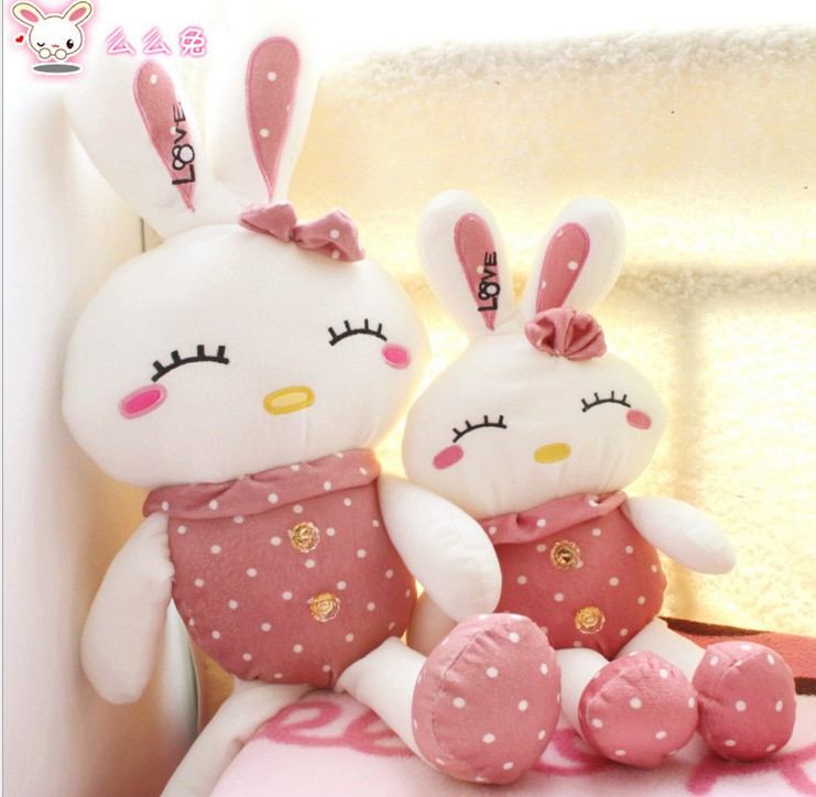 Lovely floral love rabbit plush stuffed toy rabbit doll gift(China (Mainland))