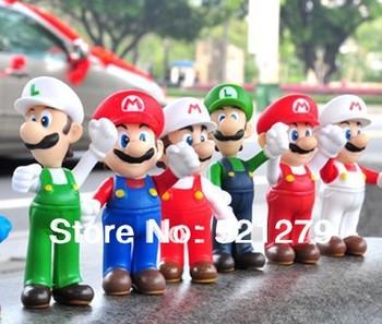 free shipping 6pcs/set 12cm Super Mario Bros Luigi Mario Action Figures Toys Doll,super mario bros figures toy set  for kids