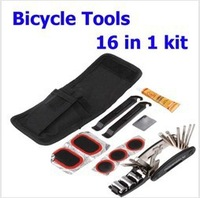 Bike Bicycle Tyre Repair Multifunctional Tool Set Kit 16 in 1kit Includes and Retail Packaging,Free Shipping