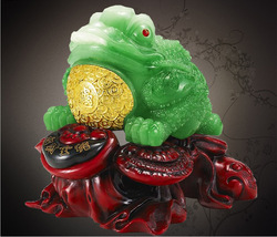 Free shipping 2013 Resin jade lucky toad decoration home accessories opening gifts crafts(China (Mainland))