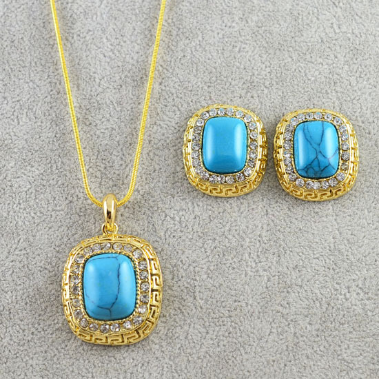 New Fashion costume jewelry set 14K gold plated rhinestone necklace earring women ladie's gift wholesale S482(China (Mainland))