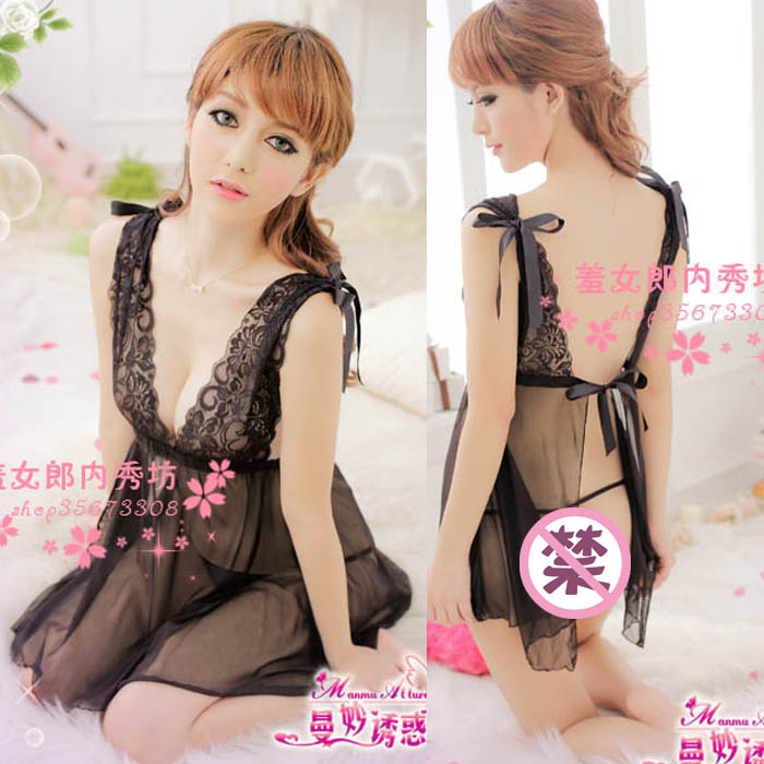 Quality soft screen fabric sexy black spaghetti strap nightgown transparent usuginu the temptation of sleepwear 7738(China (Mainland))