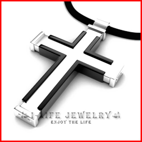 Freeshipping! 316L Stainless Steel Japan Korea Cross Pendants Necklaces Jewelry for Mens with 45cm Ball Chain(China (Mainland))