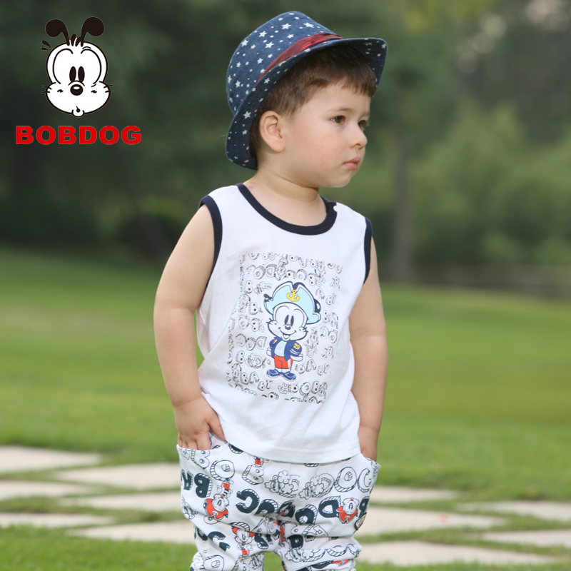 Bob DOG 2013 summer male child t-shirt capris child cartoon set baby vest b32zz215(China (Mainland))