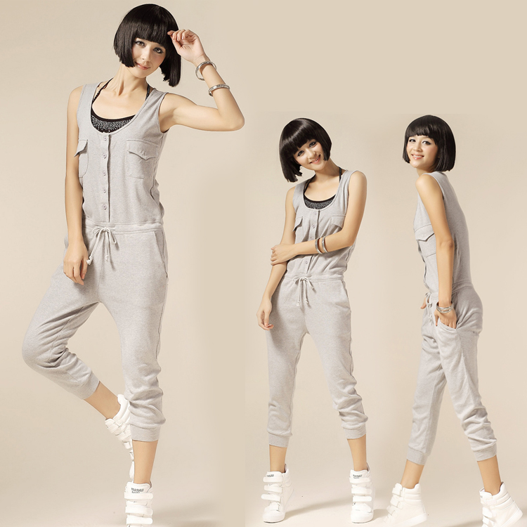 Summer lacing jumpsuit female slim harem pants capris vest jumpsuit(China (Mainland))