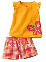 Retail girls beautiful butterfly pattern t shirt + plaid pants  QQ 01