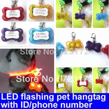 20pcs/lot Bone-shape LED Key ring Keychain tag Flashing  Pets Dog/Cat pendant shining hangtag hang tag- can write  ID/phone