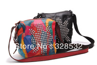 Sheepskin Bags Genuine Leather Messenger Bags Fashion Ladies Contrast Colors Handbags