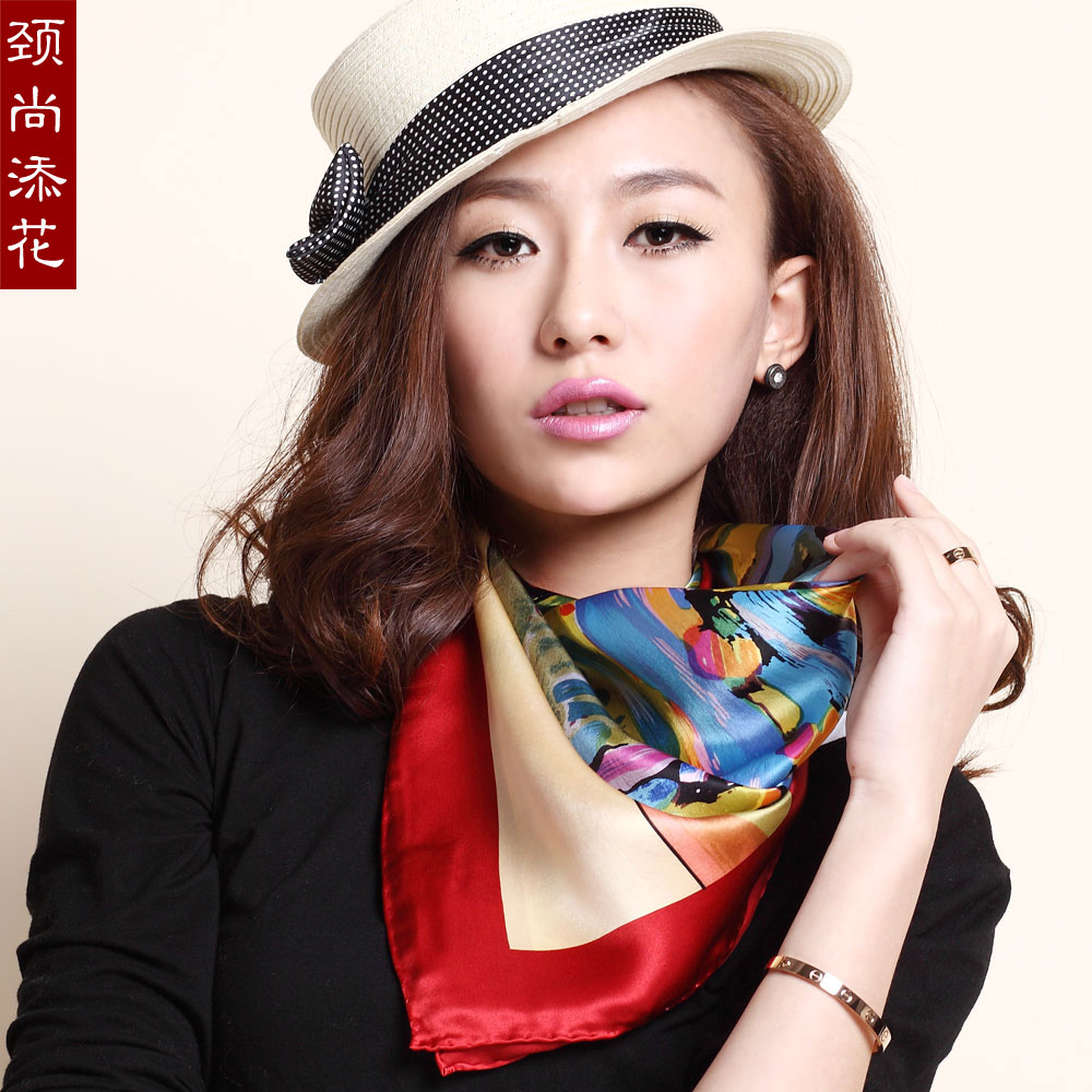 free shipping 2013 spring and autumn quality silk scarf mulberry silk plain silk satin scarf large facecloth(China (Mainland))
