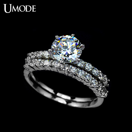 7.5mm 1.75ct Swiss Cubic Zirconia Diamond Two Band Wedding Ring FREE SHIPPING!(Umode UR0001)(China (Mainland))