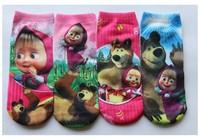 Free Shipping masha and bear cartoon socks Wholesale babys cotton socks fit 2-15yrs 12pcs/lot can chose size