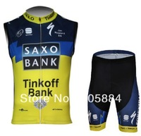 2013 SAXO BANK TEAM TINKOFF BLUE&YELLOW Cycling Vest  SLEEVELESS Jersey Bike Wear Cycling Wear + Short SZIE:XS-4XL