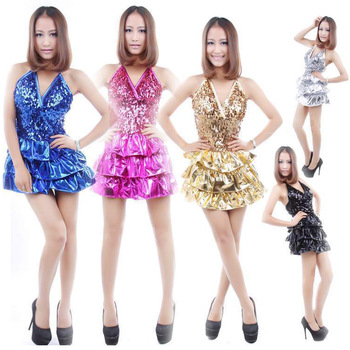 Free ship Equipment paillette ds costumes dance clothes fashion bandage paillette one-piece dress performance workwear uniforms