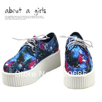 2013 new fashion blue red galaxy Harajuku vintage blended-color personalized creepers platform shoes for women