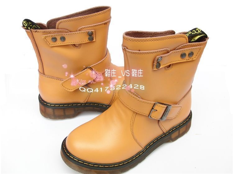 2013 fashion vintage cowhide boots female genuine leather motorcycle boots martin boots female boots with a single yellow(China (Mainland))