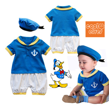 Rs113 donald duck style short-sleeve romper hat twinset