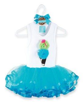 Doomagic ice cream blue puff skirt set white top blue tulle dress 149