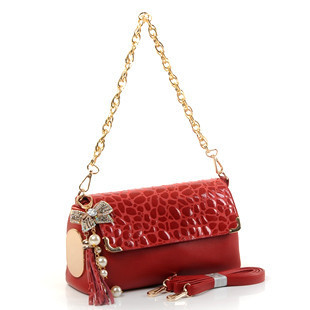 Women's handbag sweet bow stone pattern chain of packet bag genuine leather tassel women's handbag 2013(China (Mainland))