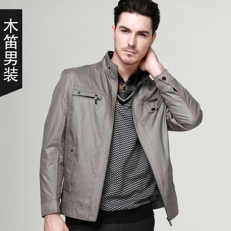 Fashion 2013 Middle-aged Men's Business Suit With Thin Kuanqiu Elderly Add Fertilizer Increased Business Stand-collar Jacket(China (Mainland))
